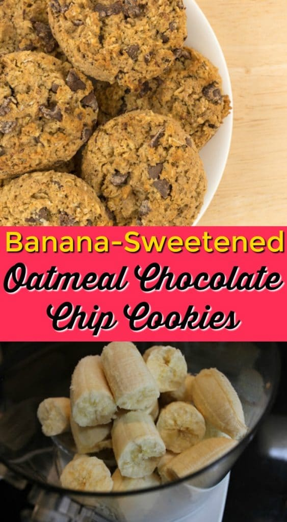 These Banana-Sweetened Oatmeal Chocolate Chip cookies are a super healthy snack or treat. Gluten-free recipe, gluten-free baking, healthy cookie recipe, vegan oatmeal cookies