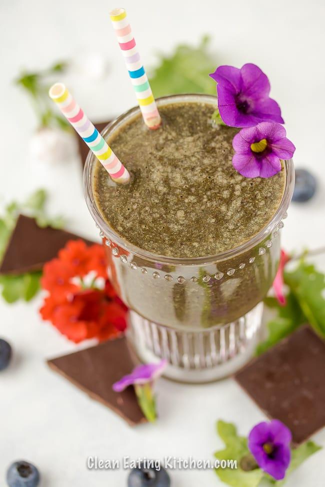 vegan chocolate blueberry smoothie with straws