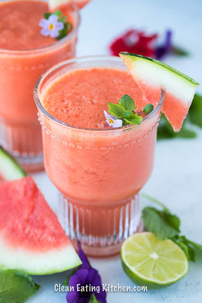 vegan watermelon slushy with flowers