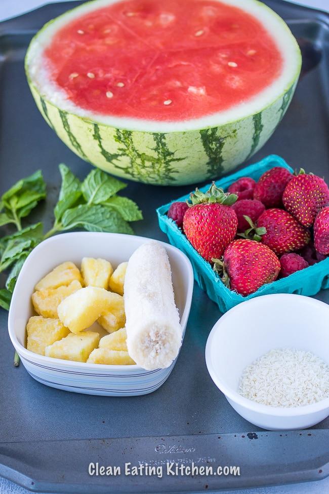 vegan watermelon slushy ingredients on cookie sheet