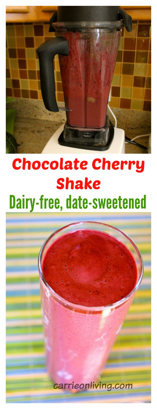 Chocolate Cherry Shake (Dairy-Free, Date-Sweetened) from Carrie on Living