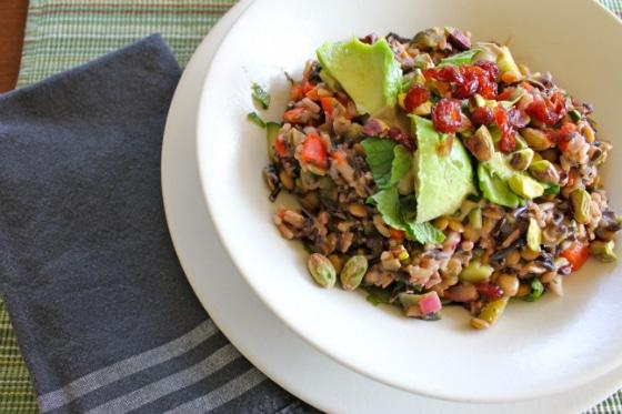 Lemony Brown Rice & Lentil Salad in bowl