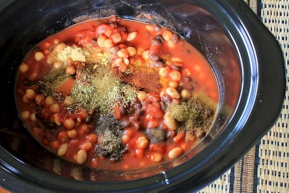 Slow-Cooker Cauliflower Indian Stew Ingredients for a plant-based meal