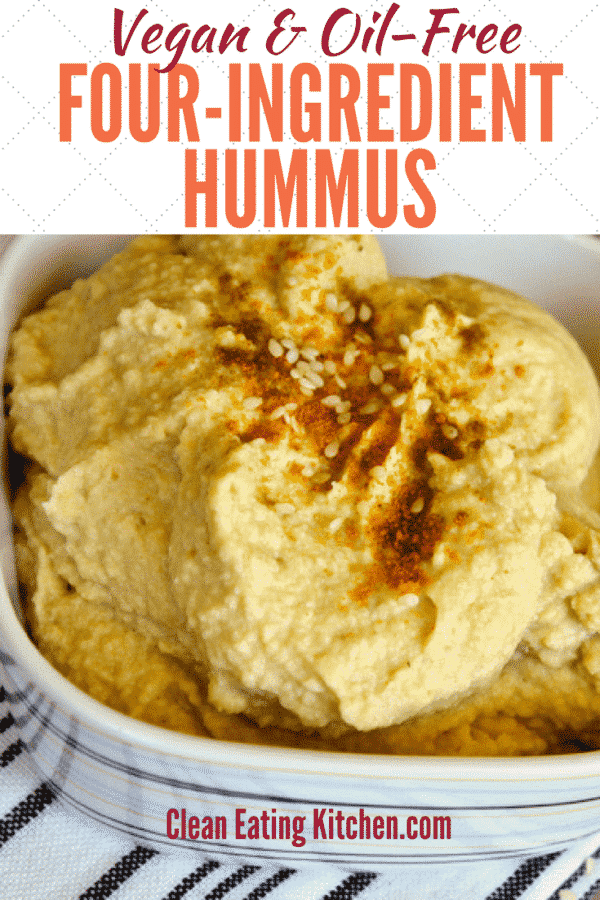 Easy oil-free 4-ingredient hummus recipe that is so delicious! Healthy and made in just minutes using a high-speed blender. #hummus #oilfree #vegan #cleaneating #plantbased