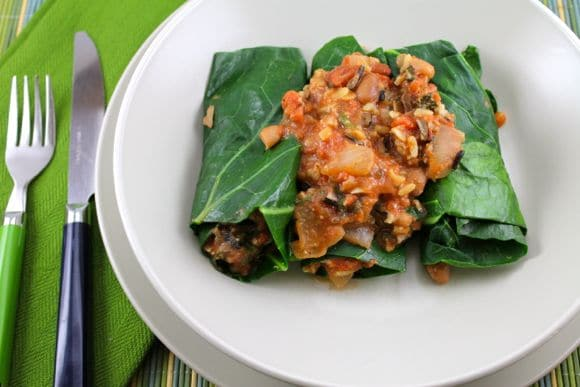 Vegan Beans & Rice Collard Burritos