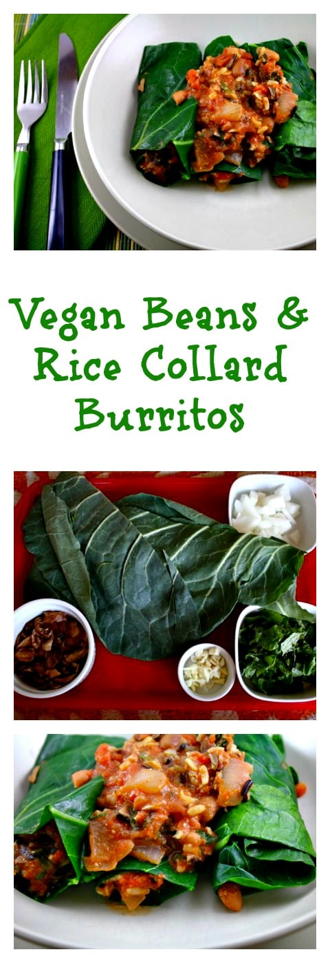 Vegan Beans and Rice Collard Burritos