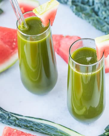 watermelon and kale juice in two glasses
