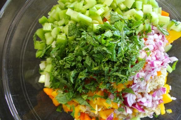 The makings of a vegetable quinoa salad.