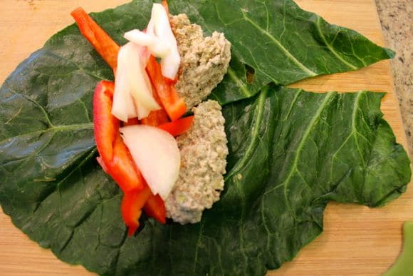 Collard wrap with vegan blue cheese.