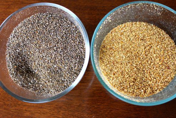 Ground chia seeds and flax seeds.