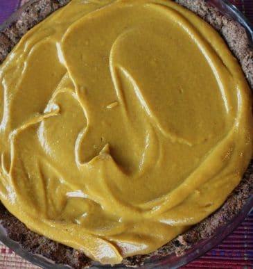Vegan Pumpkin pie before being baked.