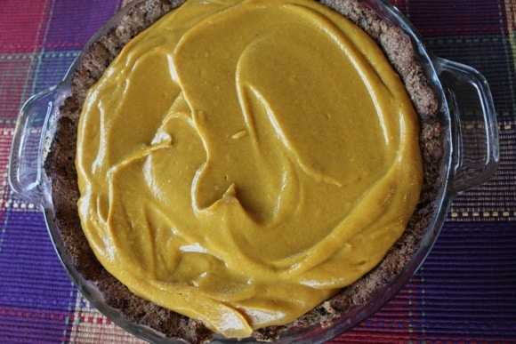 Vegan Pumpkin Pie filling recipe from Carrie on Living | www.cleaneatingkitchen.com