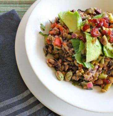 Lemony Brown Rice & Lentil Salad (Vegan, Oil-Free)