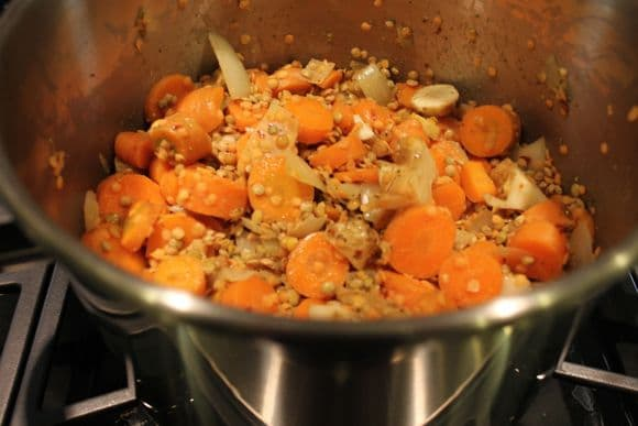 Carrots, onion and lentils in the pressure cooker.