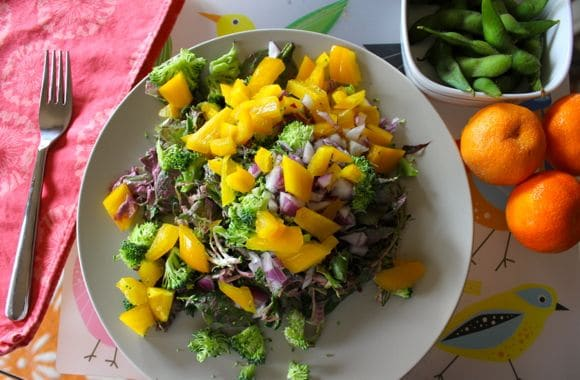 Big lunch salad with edamame and oranges.
