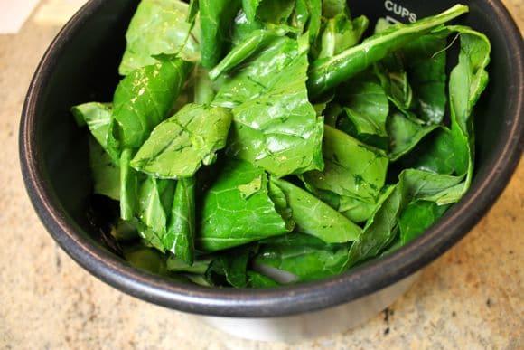 Collard greens in the pressure cooker.