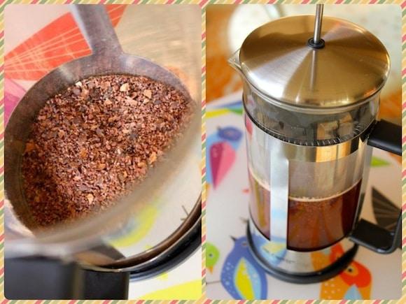 Cacao nib tea.