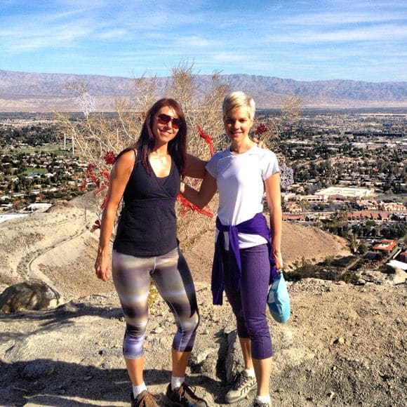 Deb and Carrie hiking.