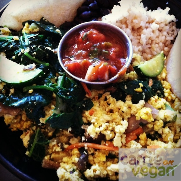 Vegan breakfast bowl at Palm Greens Cafe in Palm Springs, CA.