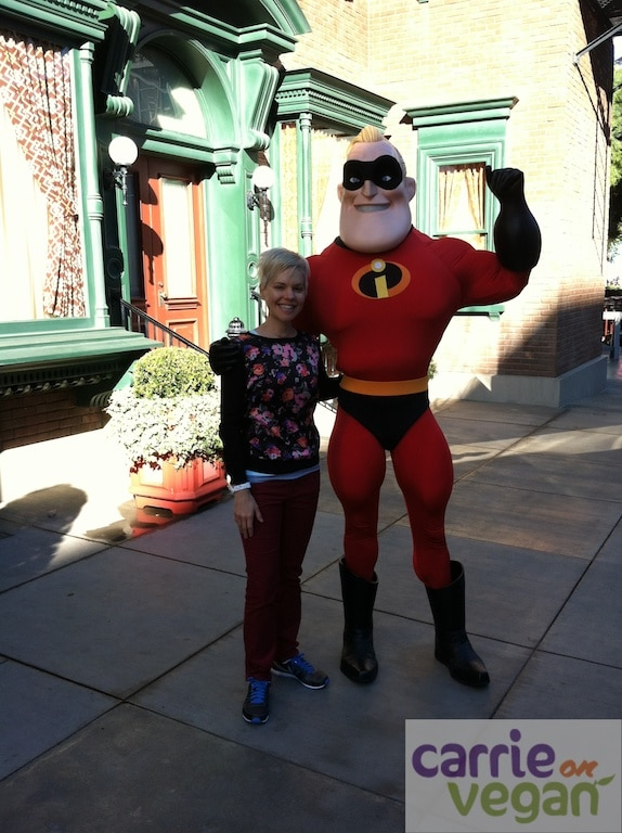 Carrie and Mr. Incredible at Disneyland.