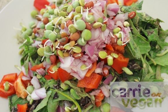 Green salad with sprouted lentils.