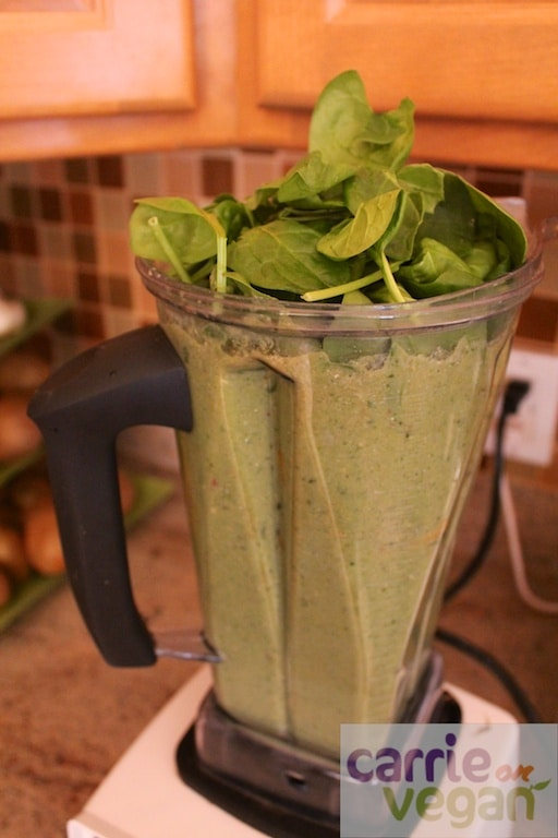 Green smoothie with spinach.