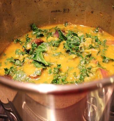 Split Pea & Kale Stew in the pressure cooker.
