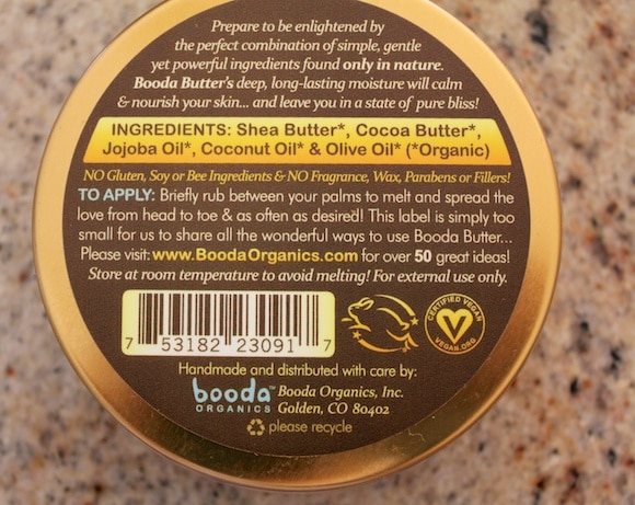 Booda Butter ingredients.