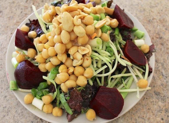 Lunch salad with peanut butter dressing.