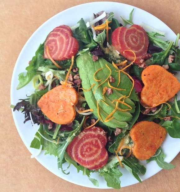 Roasted Beet and Sweet Potato Salad from Almonds & Avocados