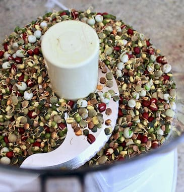Sprouted lentils in food processor