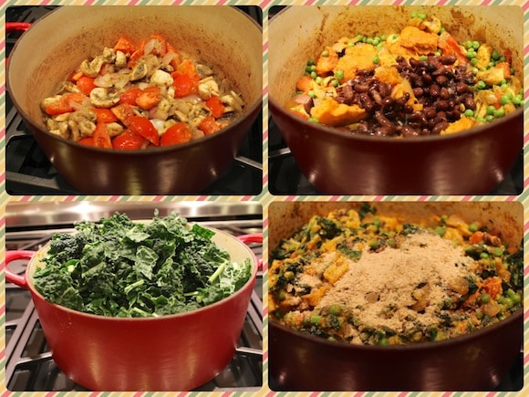 Cooking process for Kale & Spring Pea Mashup