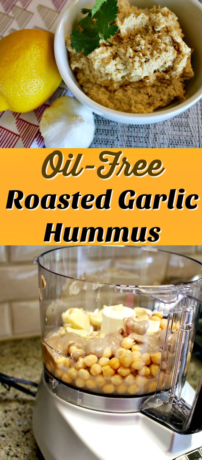 Roasted garlic gives this oil-free hummus recipe a ton of flavor, along with tahini and freshly-squeezed lemon juice. You'll love this as a healthy dip or spread.