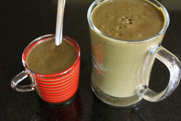Green smoothie for breakfast.