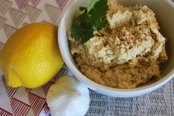 Roasted Garlic Hummus from Carrie on Living | www.cleaneatingkitchen.com