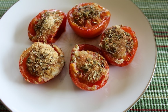Cheezy roasted tomato recipe (dairy-free) on a plate