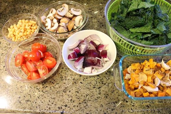 Ingredients for Roasted Squash & Kale Medley