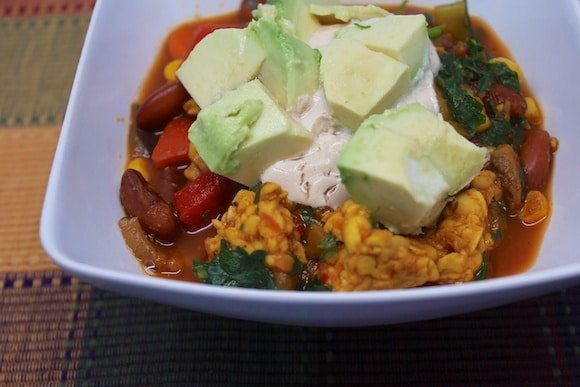 Tempting Tempeh Chili with soy yogurt and avocado.