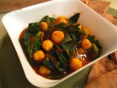 Indian Chickpeas and Greens from Amy's Nutritarian Kitchen