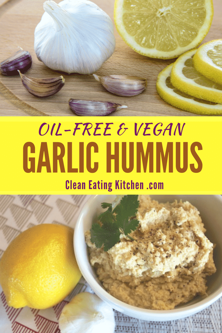 Oil free roasted garlic hummus