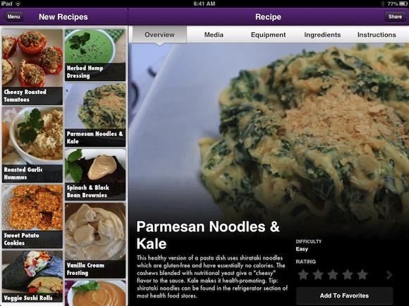 Parmesan Noodle & Kale screenshot from Vegan Delish