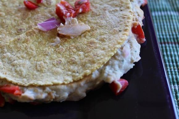 Hummus quesadilla up close and personal.