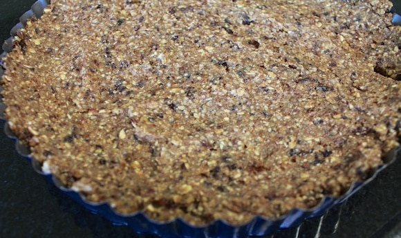Raw nut and dried fruit tart crust.