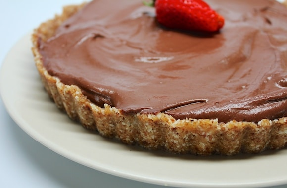 Vegan Peanut Butter Chocolate Pie with a raw crust