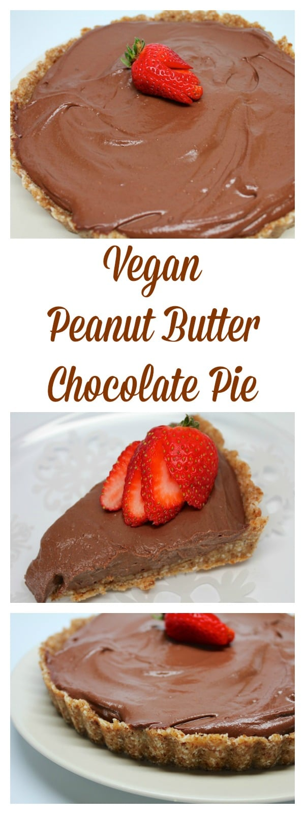 Vegan Peanut Butter Chocolate Pie made with no refined sugars.