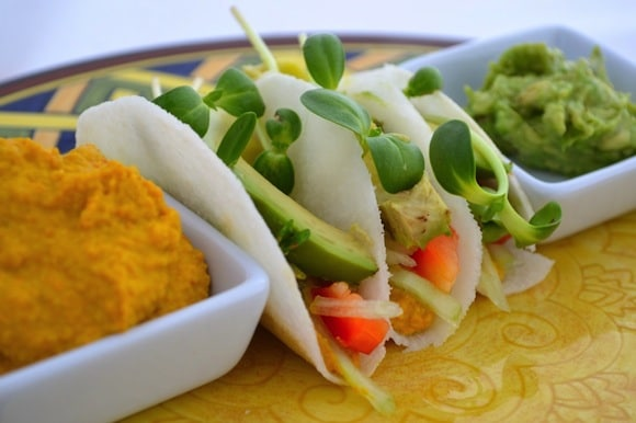 Raw Cheesy Vegan Tacos from Gluten Free Cat