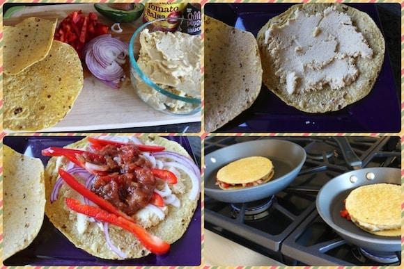 Making vegan quesadillas using hummus.