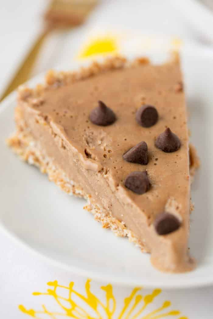 slice of peanut butter pie with chocolate chips on top