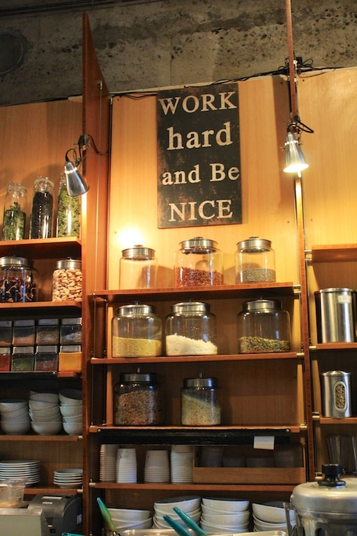 """Work Hard and Be Nice"" sign in Portland."