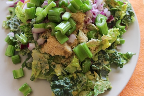 Salad made with Ginger-Hemp Dressing.